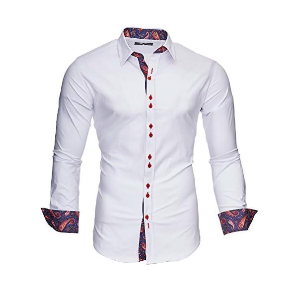 Kayhan Originale Uomo Camicia Slim Fit Facile Stiro Cotone Maniche Lungo S M L XL XXL 2XL -Modello Royal Paisley