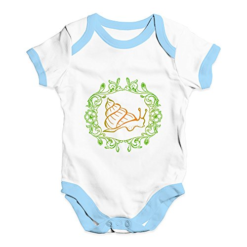 TWISTED ENVY Baby Onesies Garden Snail Baby Unisex Baby Grow Bodysuit 6-12 Months White Blue Trim ()