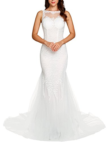 a9c0e88d64d90 AL'OFA Women's O Neck Backless Tulle Chapel Train Floral Lace Mermaid  Wedding Dress Bridal Gown White XXL