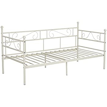 GreenForest Twin Size Daybed Couch Bed Frame/Steel Slats Platform Strong Support/Box Spring Replacement/Day Bed Frame Twin with Headboard/Easy Assembly for Living Room Guest Room(Light Beige White)