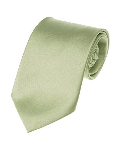 Neckties Sage - Men's Smooth Satin Solid Color Extra Long XL Necktie, Light Sage Green