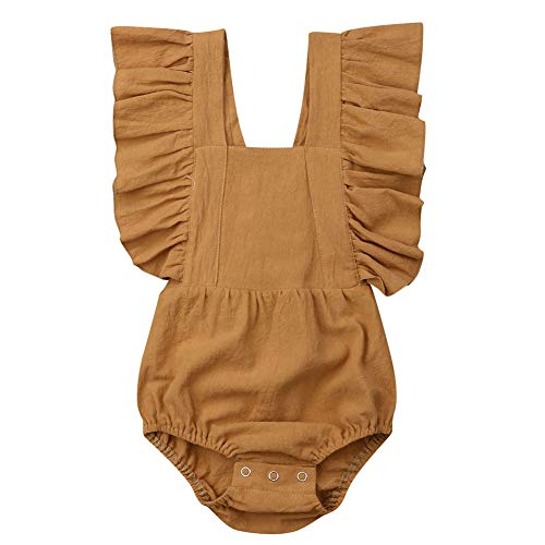- Canis Baby Girl Twins Butterfly Sleeve Backless Ruffle Romper Bodysuit Jumpsuit Sunsuit Yellow 18-24M