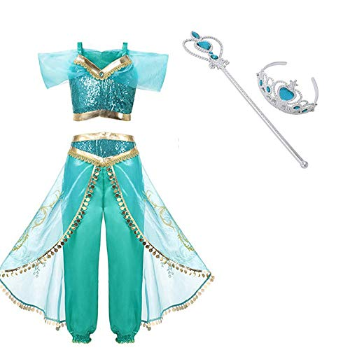 (Arabian Princess Aladdin Dress up Costume Girls Sequined Jasmine Cosplay Kids)