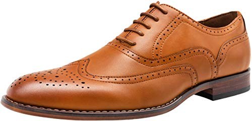 (VOSTEY Men's Dress Shoes Classic Wingtip Brogue Men Oxfords (13,Yellow Brown))