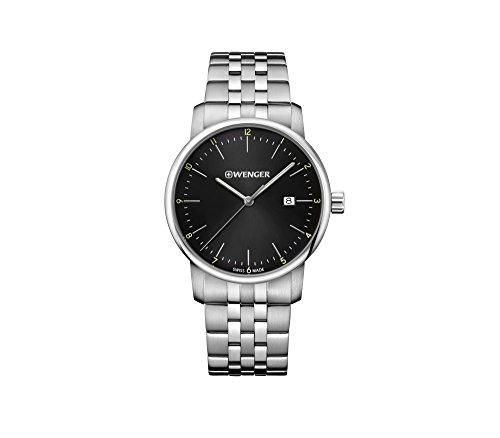 Wenger Men's Urban Classic Swiss-Quartz Stainless-Steel Strap, Silver, 19.6 Casual Watch (Model: 01.1741.122)
