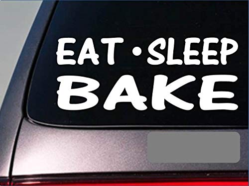 "Tollyee Car Decals and Stickers Eat Sleep Bake StickerG781 8"" Vinyl Oven Muffin Pans Baking Recipe Cookies"