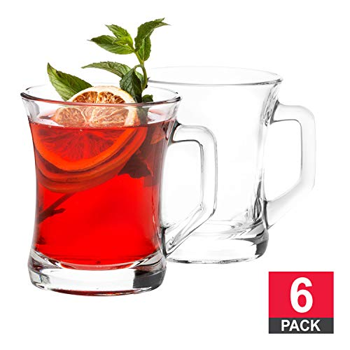 Glass Mugs for Hot Beverages with Handle, Hot or Cold Drinks, Glass Tea Cup, Turkish Tea Glasses, Set of 6, 7 ½ Ounce