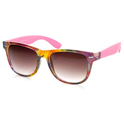 zeroUV - Floral Print Flower Two-Toned Colorful Horn Rimmed Sunglasses 54mm (Purple-Yellow Lavender) (Two Flower Toned)