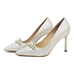Sequines Rhinestone With Crystal Pointed Toe Shoes