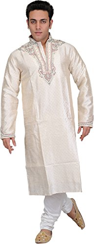 Exotic India Ivory Self-Weave Wedding Kurta - Off-White Size 40 by Exotic India