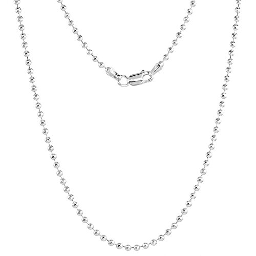 Sterling Silver Pallini Bead Ball Chain Necklace 2.2mm Nickel Free Italy 22 inch ()