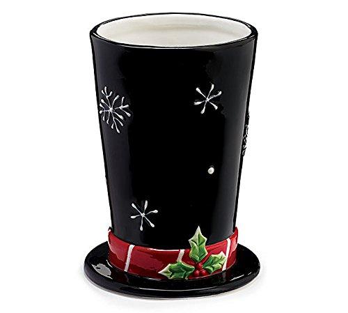 Winter Top Hat Black Porcelain Decorative Vase (Black Top Hat For Snowman)