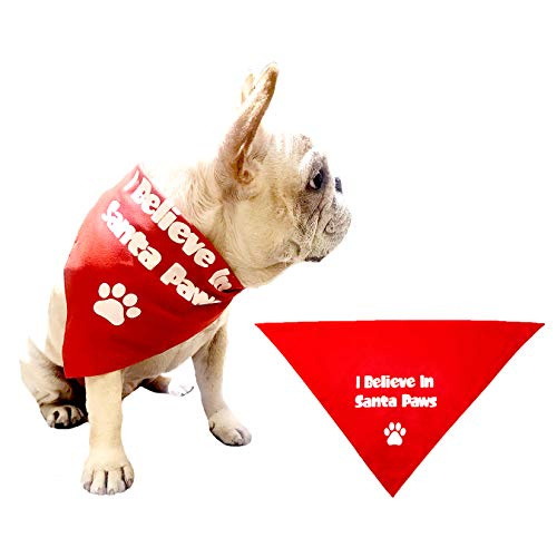 Christmas Pet Bandanna I Believe in Santa Paws Red Scarf Bandana Accessories for Dogs Cats Hourse Pets Animals