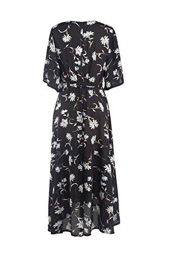 De 1940 Surplice Vintage Floral Vestido de las mujeres de