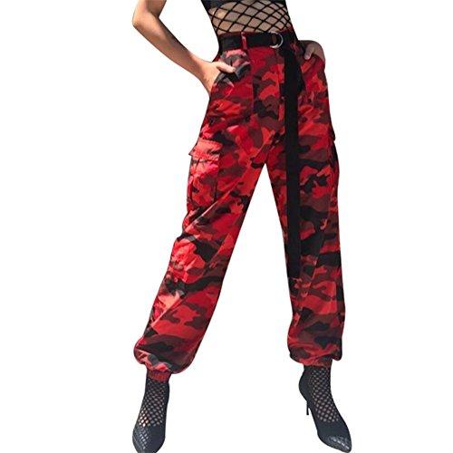 Hop Hip Cargo Harem survtement Boyfriend Pantalon Pantalon ceinture Pantalon Vintage Harem de lastique avec Pantalon Pantalon Dcontract Baggy Juleya Rouge Camouflage Dance Femme EPqSt