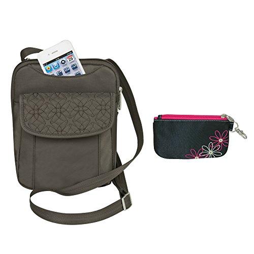 Travelon Anti-Theft Signature Slim Crossbody Purse with RFID Blocking ID Wallet Pouch - Truffle