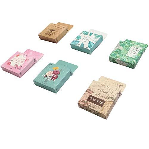Stamps Mint Flowers - Paper Stationery Sticker Set (6 Box, 270 Pieces) Fresh Mint Leaf Tropical Plants Leaves Vintage Flower Hemisphere Paper Decorative Sticker Label for Art DIY Craft Scrapbooking Diary Planner Album