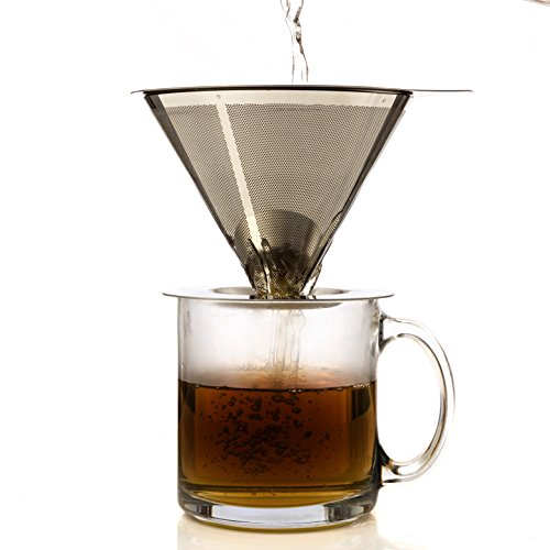 One Cup Coffee Maker by HouseBasics, Pour Over Coffee Dripper made with Stainless Steel Micro Mesh, Filterless, Reusable