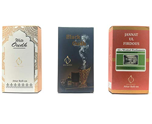 Combo Pack Of 3 Bottles Natural Attar (6ml) Each | Famous & Differrent Attar Perfumes | 24 hours long lasting ~ Pure Exotic Perfume Range for Men | Women