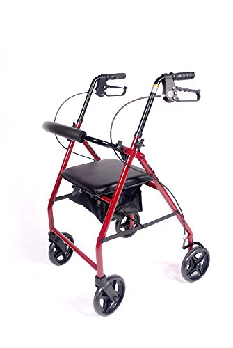Caremax Lightweight Aluminum Folding Rollator Walker Mobility Aid with 8.5'' Wheels and Storage Bag, Burgundy by CareMax