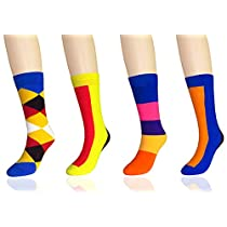 FULIER Womens Casual Comfortable Cotton Fun Colorful Design Fashion Dress Socks