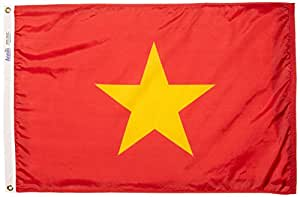 ANNIN & COMPANY Annin Flagmakers 199230Nylon SolarGuard nyl-GLO Bandera de Vietnam, 2x 3'