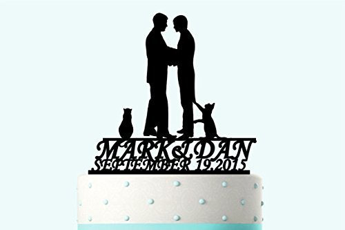 Custom Couple Name and Big Date Number Wedding Cake Toppe...