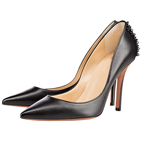 Arc-en-Ciel women's shoes high heel leather spike pump Negro