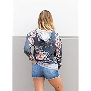 Coutgo Woman's Fashion Short Sleeve & Long Sleeve Floral Print Pullover Hoodie (XL, Navy-Long)