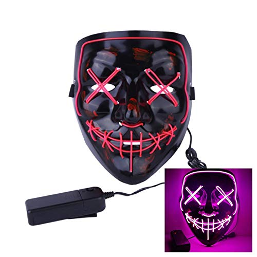 Uecoy Light up LED Smiling Stitched Purge Mask for Halloween, Rave, Festivals, and Cosplay Halloween Costume (Pink) -