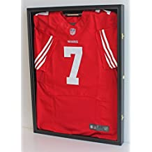 Football/Baseball Jersey Display Case Frame Shadow box with ULTRA CLEAR 98% UV Protection, Black Fin
