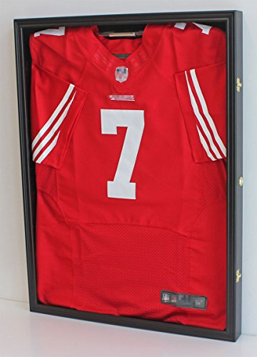 Football/Baseball Jersey Display Case Frame Shadow box with ULTRA CLEAR 98% UV Protection, Black Finish (JC01--BL)
