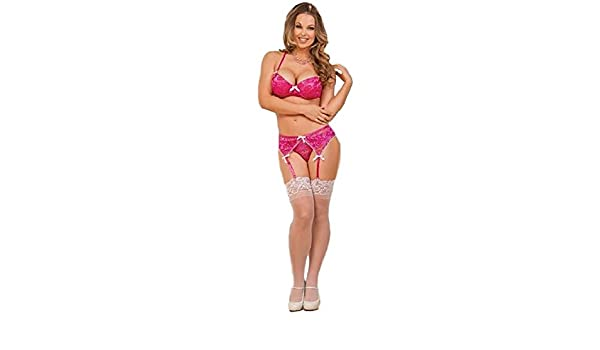 2c01a1f7213 Amazon.com  Magic Silk Bra Peek A Boo Panty   Garter Set Pink  Health    Personal Care