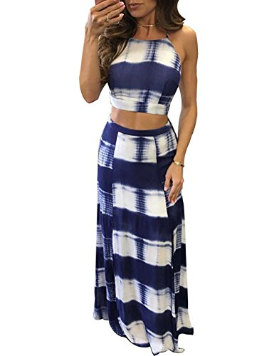 a5c318719d3 Voguegirl Womens Stripe Tie Dye Two Piece Crop Top and Slit Maxi Skirt Set  Dress - Buy Online in Oman. | Apparel Products in Oman - See Prices, ...