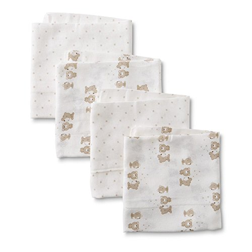 Gerber Flannel Burp Cloths (Gerber Prefold Gauze Cloth Diapers, 4 Count, One Size (Bears))