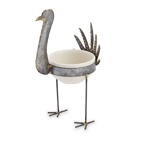 - Mud Pie 48500005 Vintage Inspired Tin Turkey Dip Cup Stand, One Size, White; silver