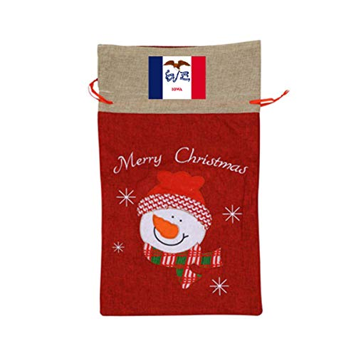 ONE SUIT Flag of Iowa Christmas Craft Bags Santa Present Drawstring Bag Santa Sack Holiday Large Gift Bags