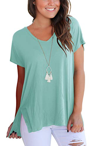 FAVALIVE Short Sleeve T Shirt Women Casual Loose Tops V Neck Shirts Lake Green S