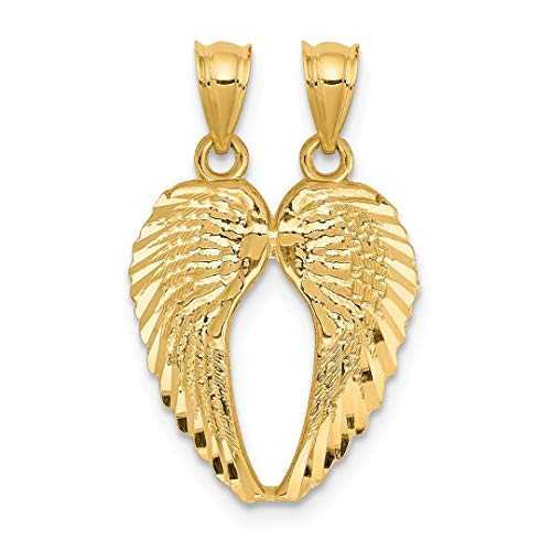 14k Yellow Gold Break Apart Wings Pendant Charm Necklace Religious Angel Fine Jewelry For Women Gift Set (Cat Yellow Charm Gold)