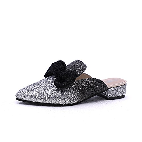 Slip pit4tk on Black Home Flops Mules Flip Sandals with Designer Slides Slippers Women Flower PBqwWgaP6