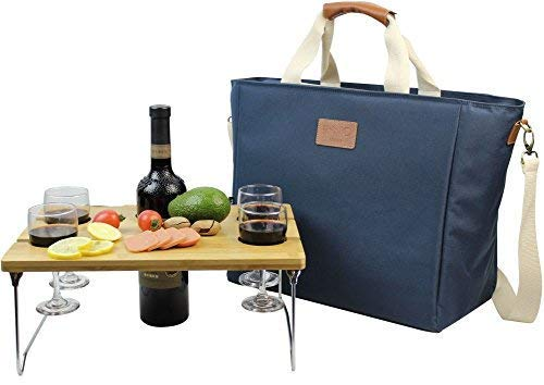 INNO STAGE 40L Large Insulated Cooler Tote Bag, Wine Carrier Bag, Picnic Cooler Bag with Portable Bamboo Wine Snack Table - Navy Blue -