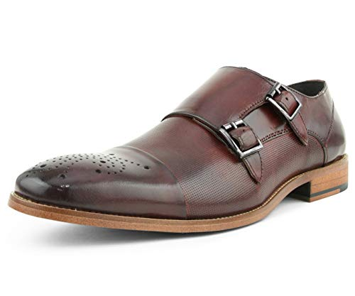 (Asher Green Mens Dress Shoes, Genuine Calf Leather Cap Toe, Double Monk Strap,Style AG1101 Burgundy)