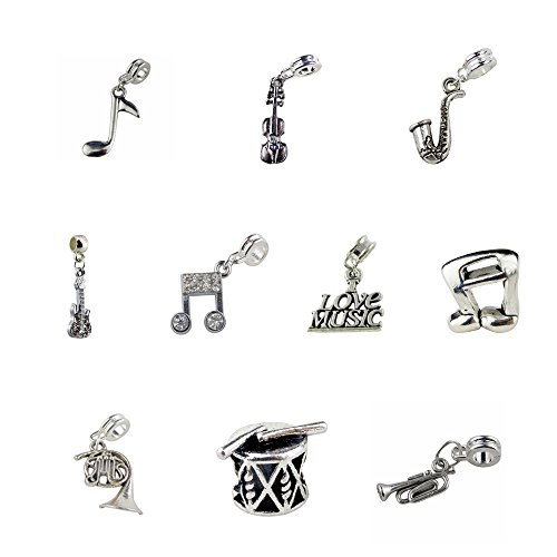 Horn Bead Bracelet - Set of 10 Music Charms and Beads Includes G Clef, Violin, Saxophone, Guitar, French Horn, Drum, Trumpet