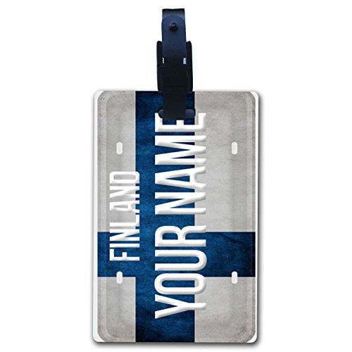 BleuReign(TM Personalized Custom Name Country License Plate Finland Flag Luggage Tag with Strap