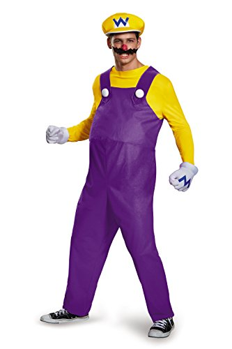 Wario Costume Adults (Disguise Men's Super Mario Wario Deluxe Costume, Yellow,)