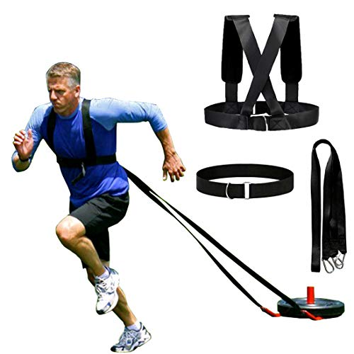 (XJunion Sled Harness Tire Pulling Harness Fitness Resistance Training Workout -Adjustable Padded Shoulder Strap)