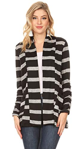 Long Sleeve Lightweight Cardigan Sweater for Women with Pockets - Made in USA (Size X-Large US 14-16, Heather Grey - Black Stripe)