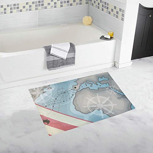 Happy Columbus Day America Discover Holiday Custom Non-Slip Bath Mat Rug Bath Doormat Floor Rug for Bathroom 20 X 32 Inch