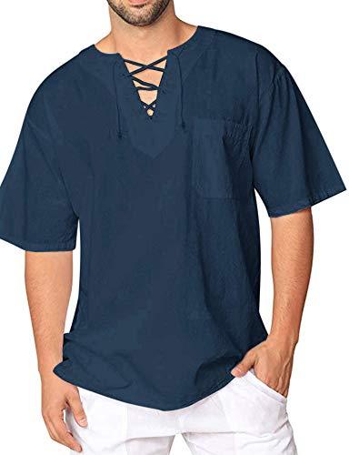 Oyamiki Men's Shirt Cotton Casual Hippie Shirt V-Neck Drawstring Short Sleeve Beach Yoga Top Navy Blue/M]()