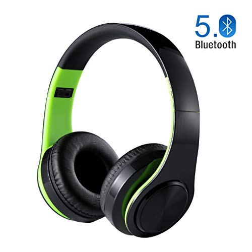Stereo Lightweight Foldable Bluetooth Headphones Over Ear, Hi-Fi Stereo Wireless Headset, Noise Cancelling Headphones with Long Duration for Travel Work TV PC Cellphone (Green)